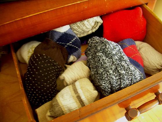 Folded socks.